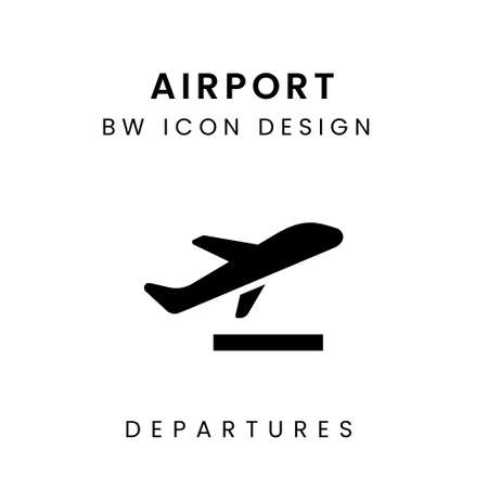 Black and White Airport Icon Design - Departures Icon
