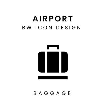 Vector Black and White Airport Icon Design - Baggage Çizim