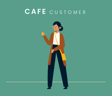 Woman customer. Flat style icon design. Vector illustration.