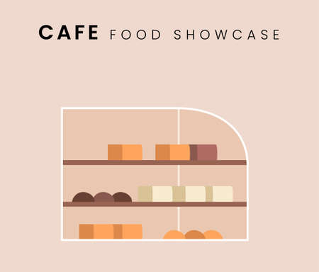 Food Stall or food showcase. Flat style icon design. Vector illustration.