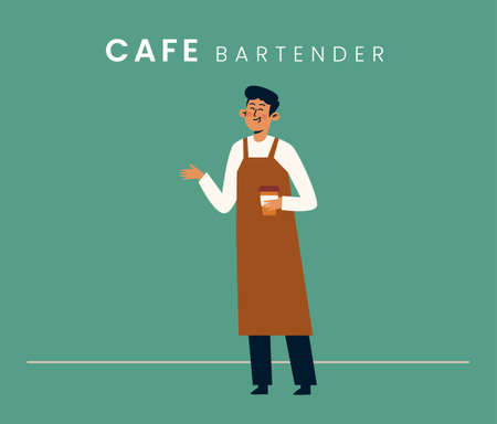 Bartender. Flat style icon design. Vector illustration.