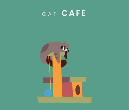 Cat cafe. Flat style icon design. Vector Illustration. Çizim