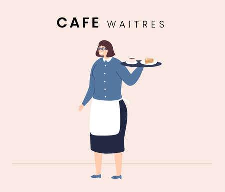 Cafe Waitress. Flat style icon design. Vector illustration.