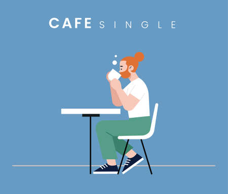 A Man sitting in the cafe. Flat style icon design. Vector illustration.