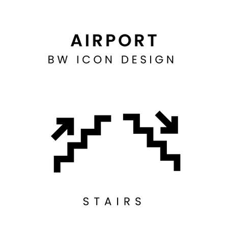 Vector of Black and White Aiport Icon Design - Stairs Çizim