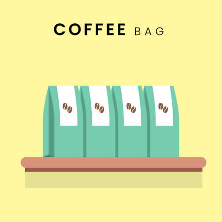 Coffee Bean Bag. Flat design with background, in pastel colour. Vector Illustration. Çizim