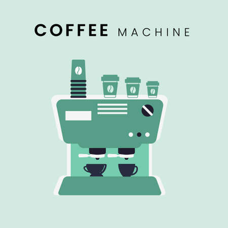 Coffee Machine. Flat design with pastel background color. Vector Illustration