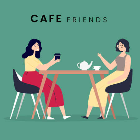 2 woman sitting in the cafe. Flat style icon design. Vector illustration.