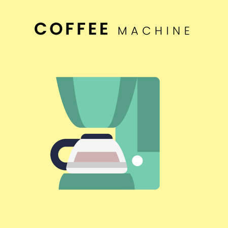 Coffee Machine. Flat design with pastel colour background. Vector Illustration