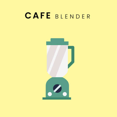 Coffee Blender. Flat design with background, in pastel colour. Vector Illustration