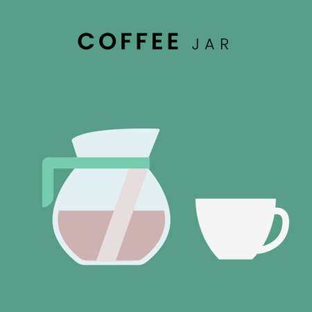 Coffee Jar. Flat design with background, in pastel colour. Vector Illustration Çizim