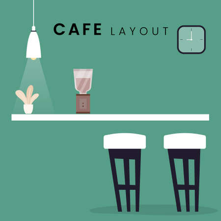 Cafe Layout Vector. Flat style icon design. Vector illustration.