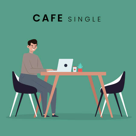 Man in the cafe. Flat style icon design. Vector illustration. Çizim