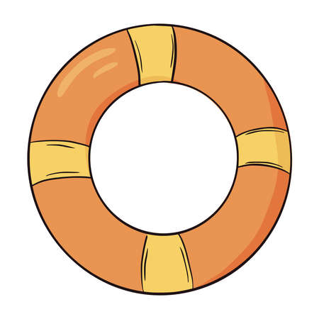Hand drawn yellow and orange swim ring icon. Swimming circles flat style vector illustration isolated on white background. Inflatable swimming gear for a summer party. Colorful illustration of swim ring. Vetores