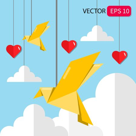 Illustration vector graphic of Peace day concept with origami dove