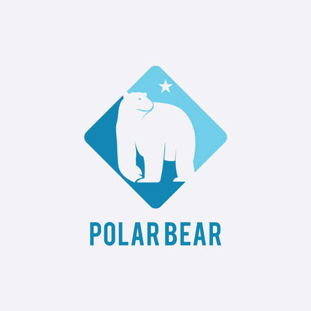 illustration vector graphic of polar bear/north star in a blue frame suitable for mattress logo