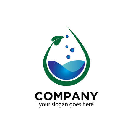 Water drop logo for a natural water purification company  イラスト・ベクター素材