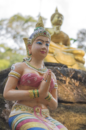 thee: The guardian spirit image on thee mountain, Thailand. Stock Photo