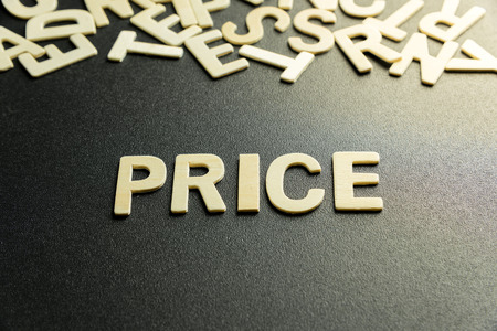 PRICE word made with wooden letter Stock Photo
