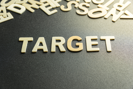 TARGET word made with wooden letter Stock Photo