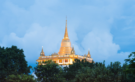 Beautiful view of Wat Saket Ratcha Wora Maha Wihan (Wat Phu Khao Thong, Golden Mount temple), a popular Bangkok tourist attraction and has become one of the symbols of the city.