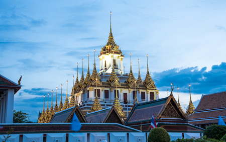 LOHA PRASAT WAT RATCHANADDARAM, THE ONLY ONE METALLIC CASTLE IN THE WORLD IN BANGKOK, THAILAND