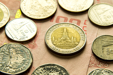 Thai ten baht coin, Wat Arun in Bangkok, Thailand