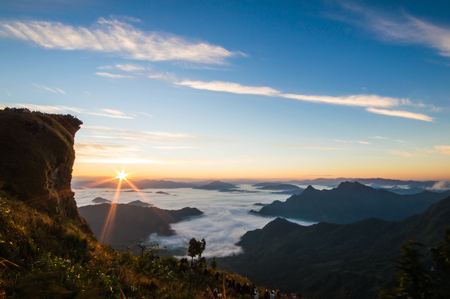 Phu Chi Fa is a mountain area and national forest park in Thailand.It is located at the northeastern end of the Phi Pan Nam Range, 12 km to the southwest of Doi Pha Tang at the eastern edge of Thoeng District, Chiang Rai Province. Stock Photo