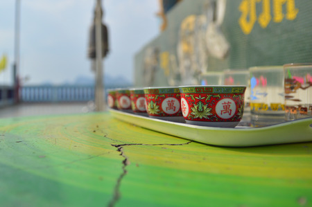 cup of chainese tea  for worship to holy thing according to belief of buddhist in Thailnad