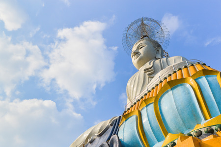 white buddha statue at Wat Hnong Hoy. It is a temple in Buddhism under the jurisdiction of Nakhon Si Thammarat, located in Tambon Khao Rat, Muang Ratchaburi Ratchaburi, Its an ancient temple that important as a Buddhist center in Ratchaburi,Thailand