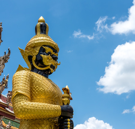 Ramayana green Buddha Giant wear golden suit at Wat Sri Sa Thong Nakhon Pathom, Thailand