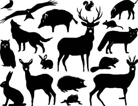Wild Animals Nature Landscape Vector Silhouette