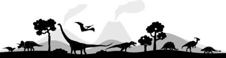 Dinosaur vector outline landscape Illustration