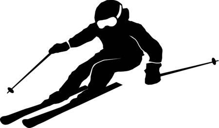 Winter sport ski silhouette illustration