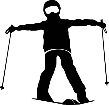 Winter sport ski silhouette illustration