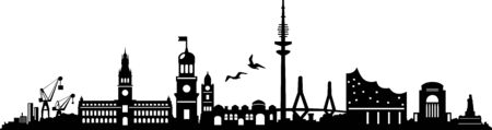 Hamburg City Skyline Vector Silhouette Outline Illustration