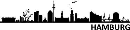 Hamburg City Skyline Vector Silhouette Outline