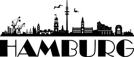 Silhouette de vecteur pour les toits de la ville de Hambourg
