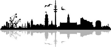 Hamburg City Skyline Vektor Silhouette Umriss Vektorgrafik