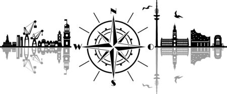 Hamburg City Compass Vector Silhouette Skyline Outline