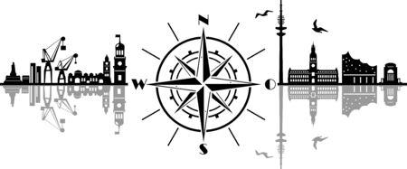 Hamburg City Compass Vector Silhouette Skyline Outline