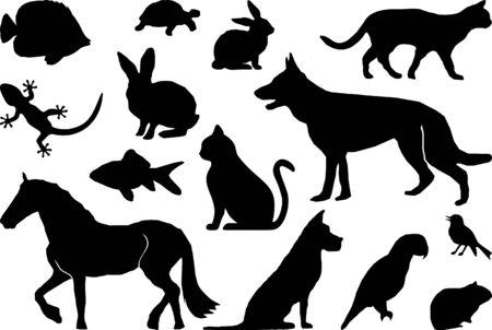 Animales domésticos conjunto silueta contorno Ilustración de vector