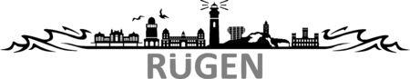 Island of Ruegen skyline vector silhouette