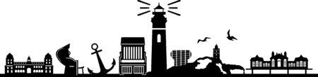 Island of Ruegen skyline vector silhouette Vector Illustration