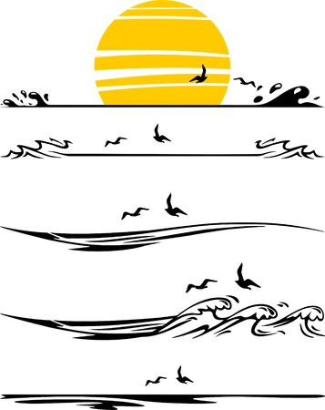 Water Waves Ocean Beach Silhouette Vector Ilustração
