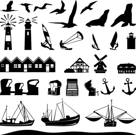 North Sea Silhouette Landscape Vector