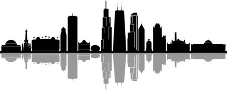 Chicago City Downtown Skyline Ouline Silhouette Vector Vetores