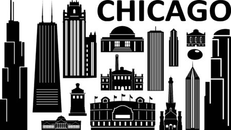 Chicago City Downtown Skyline Ouline Silhouette Vector