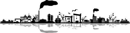 Seaport Skyline Outline Mobility Silhouette Vector Standard-Bild - 142960948