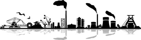 Coal Mining Landscape Skyline Silhouette Vector Illustration